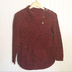 Style & Co. Red Black Cowl Sweater Petite Small